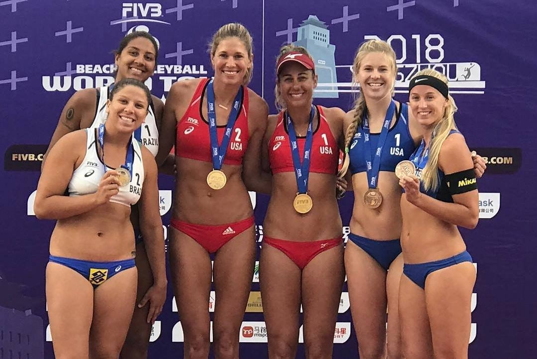 The women's podium in Yangzhou featured two American and one Brazilian teams (Photocredit: FIVB)