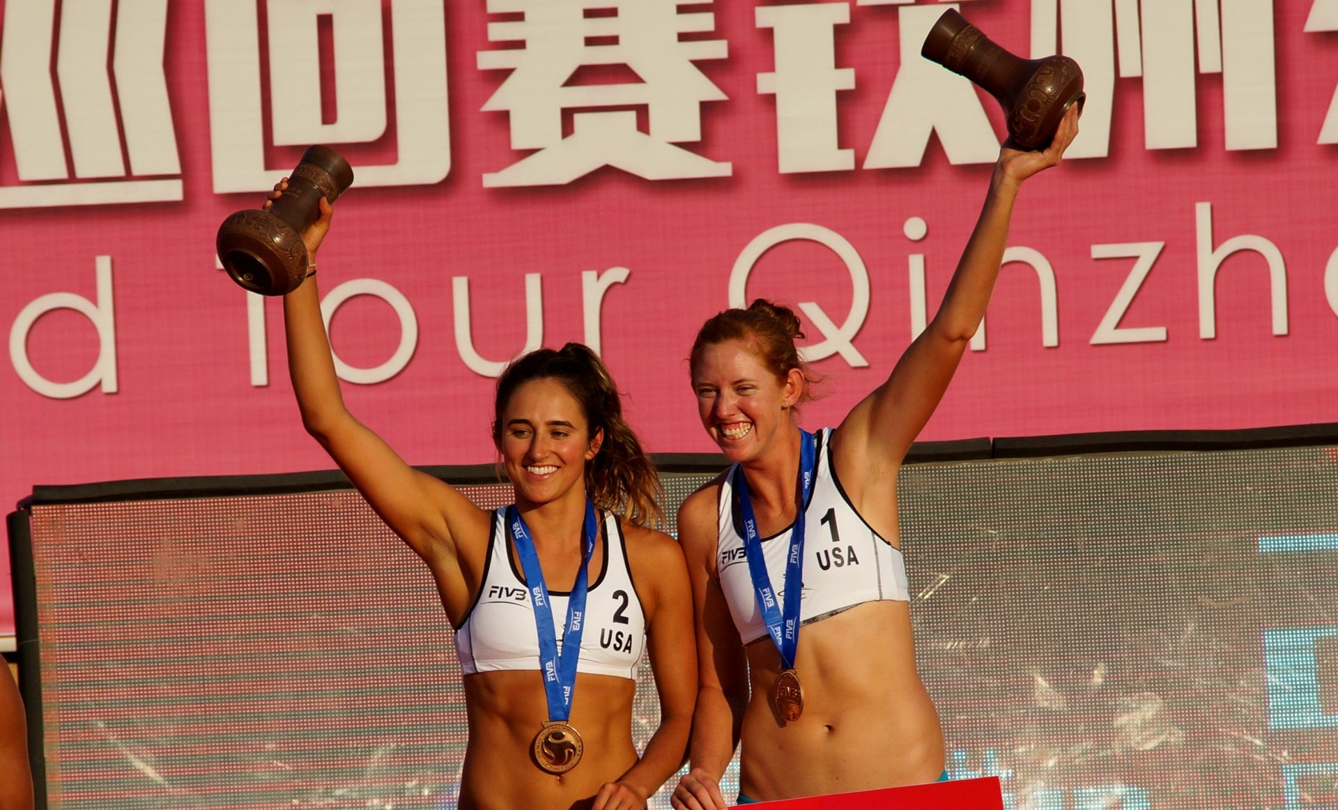 Sponcil and Claes stepped into the podium in their first tournament together (Photocredit: FIVB)