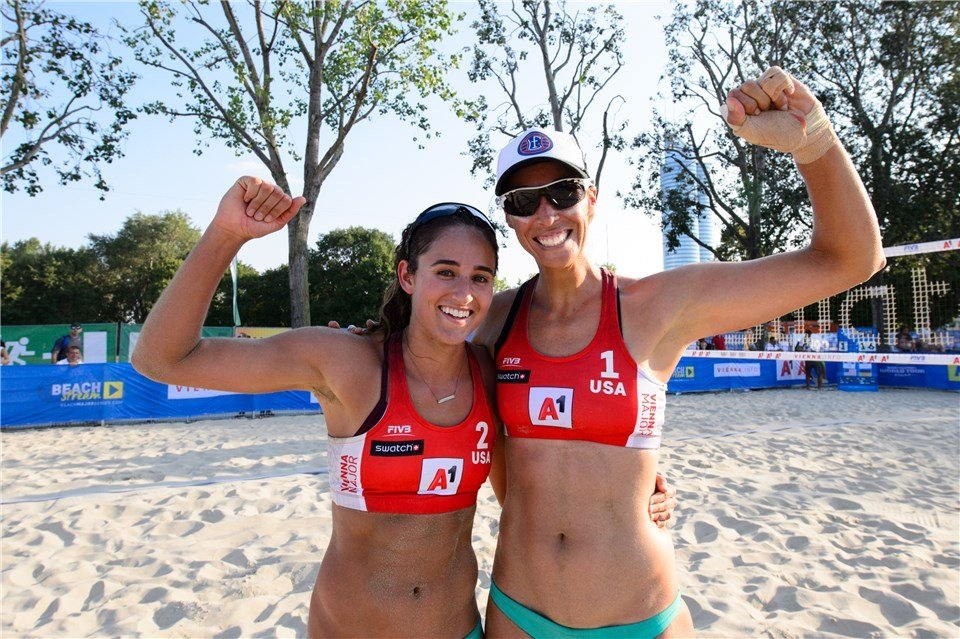 Sponcil debuted in the Beach Major Series last August in Vienna with veteran Lauren Fendrick (Photocredit: FIVB)