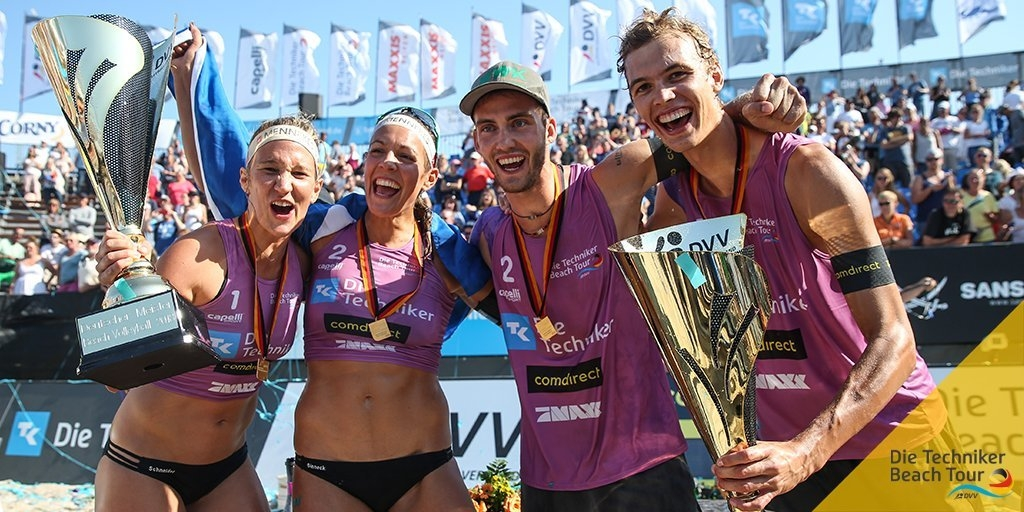 Victoria Bieneck/Isabel Schneider and Julius Thole/Clemens Wickler are the reigning German champions (Photocredit: Die Techniker Beach Tour)