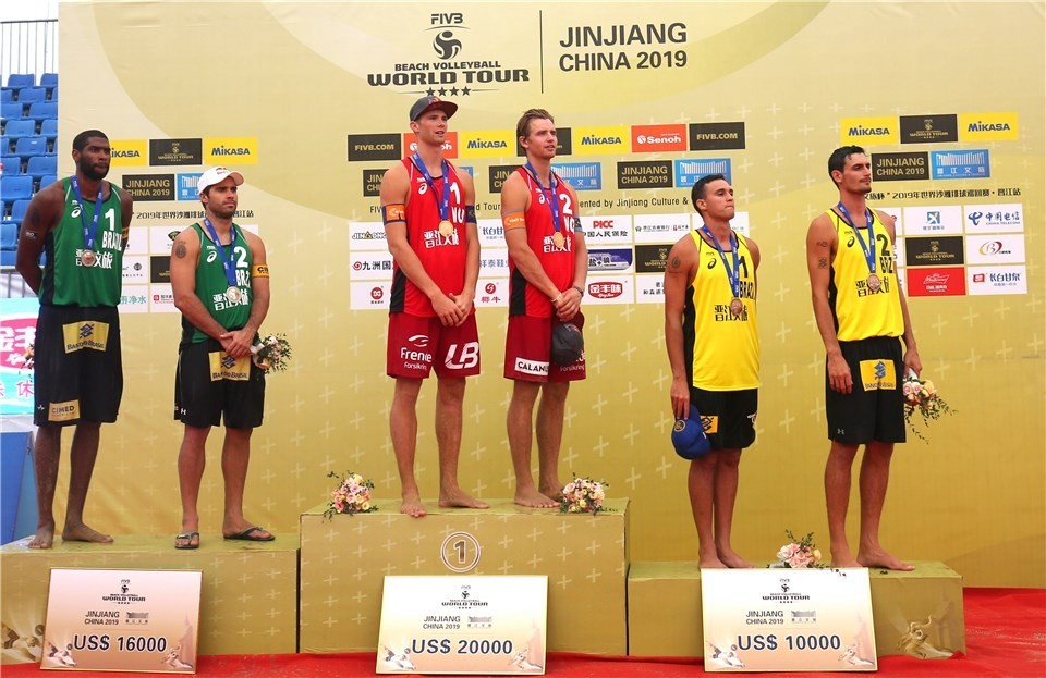 The Vikings were flanked by two Brazilian teams at the podium in Jinjiang (Photocredit: FIVB)