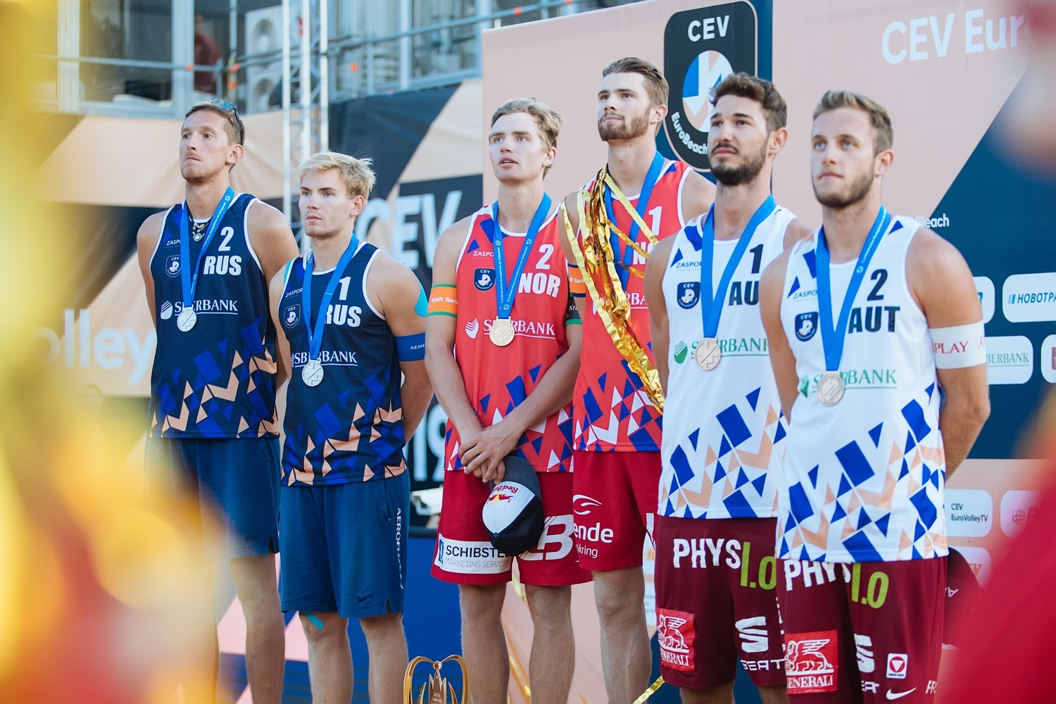Russia, Norway and Austria at the podium in Moscow (Photocredit: CEV)