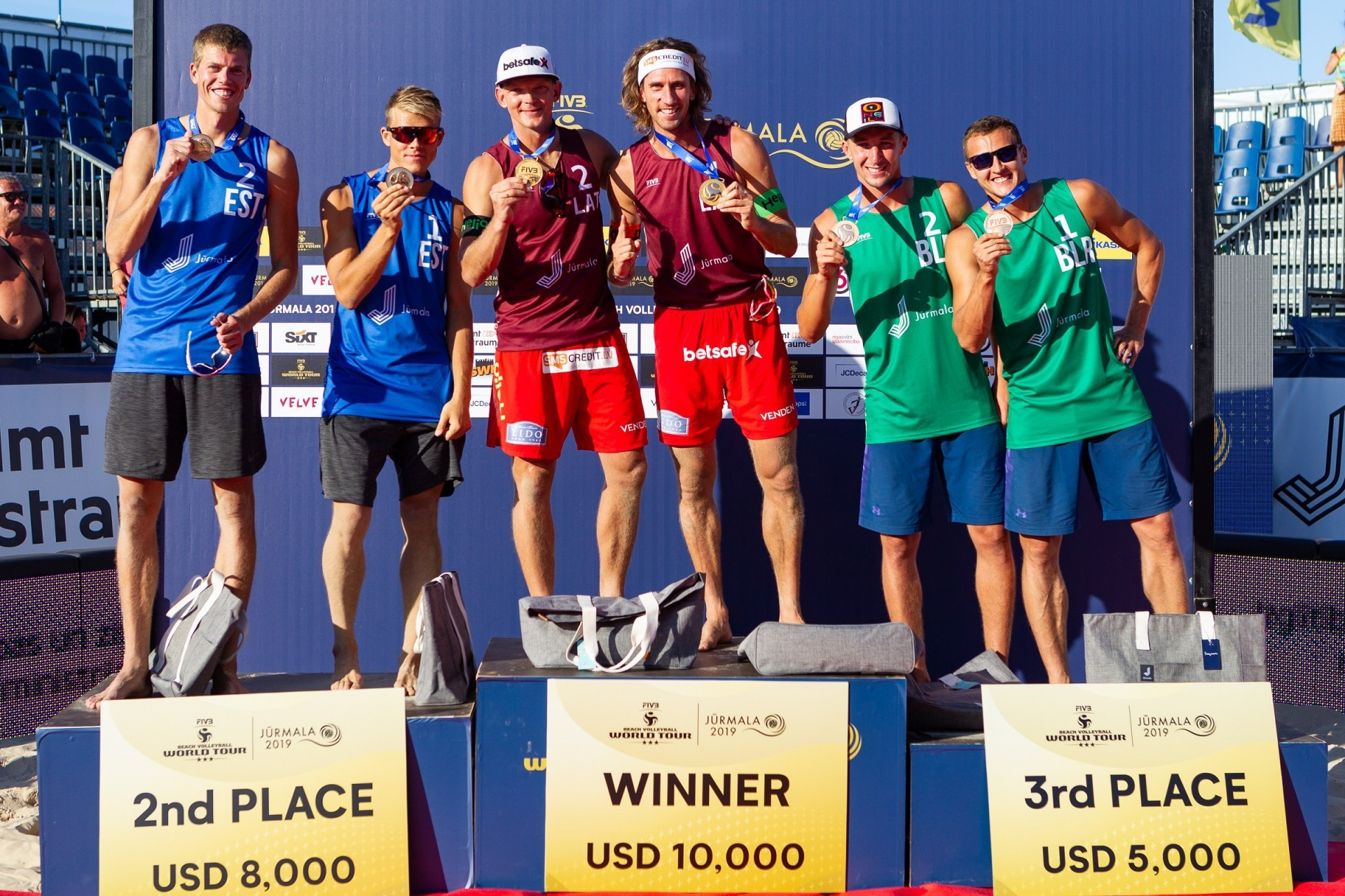 Samoilovs and Smedins topped the podium in their home sand of Jurmala (Photocredit: FIVB)