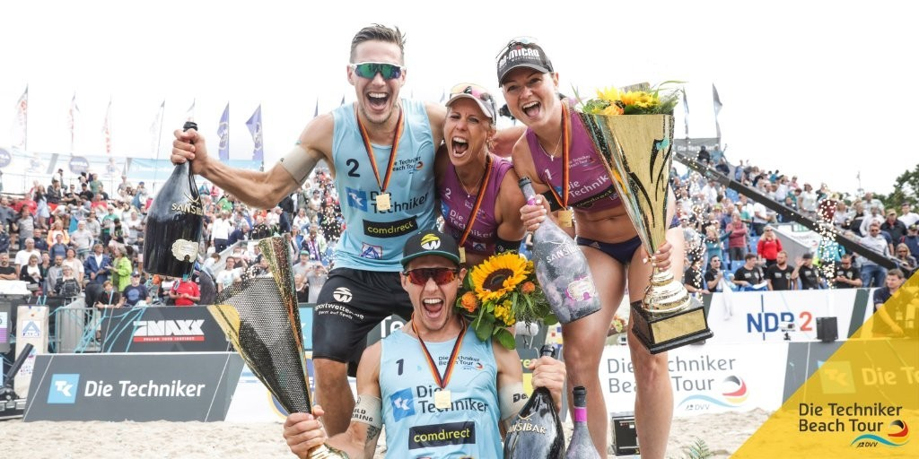 The champions of the 2019 German Championships Borger/Sude and the Poniewazs (Photocredit: Die-Techniker Beach Tour)