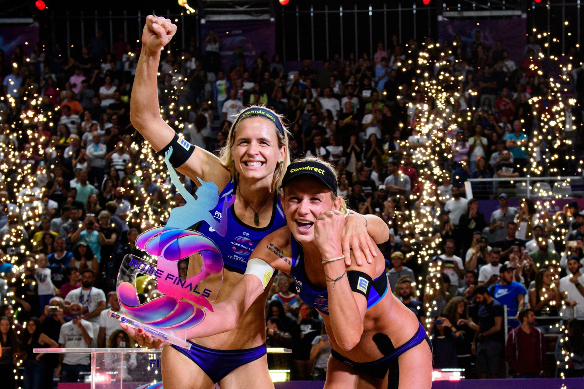 Laura and Maggie celebrate their victory at the iconic Foro Italico (Photocredit: FIVB)