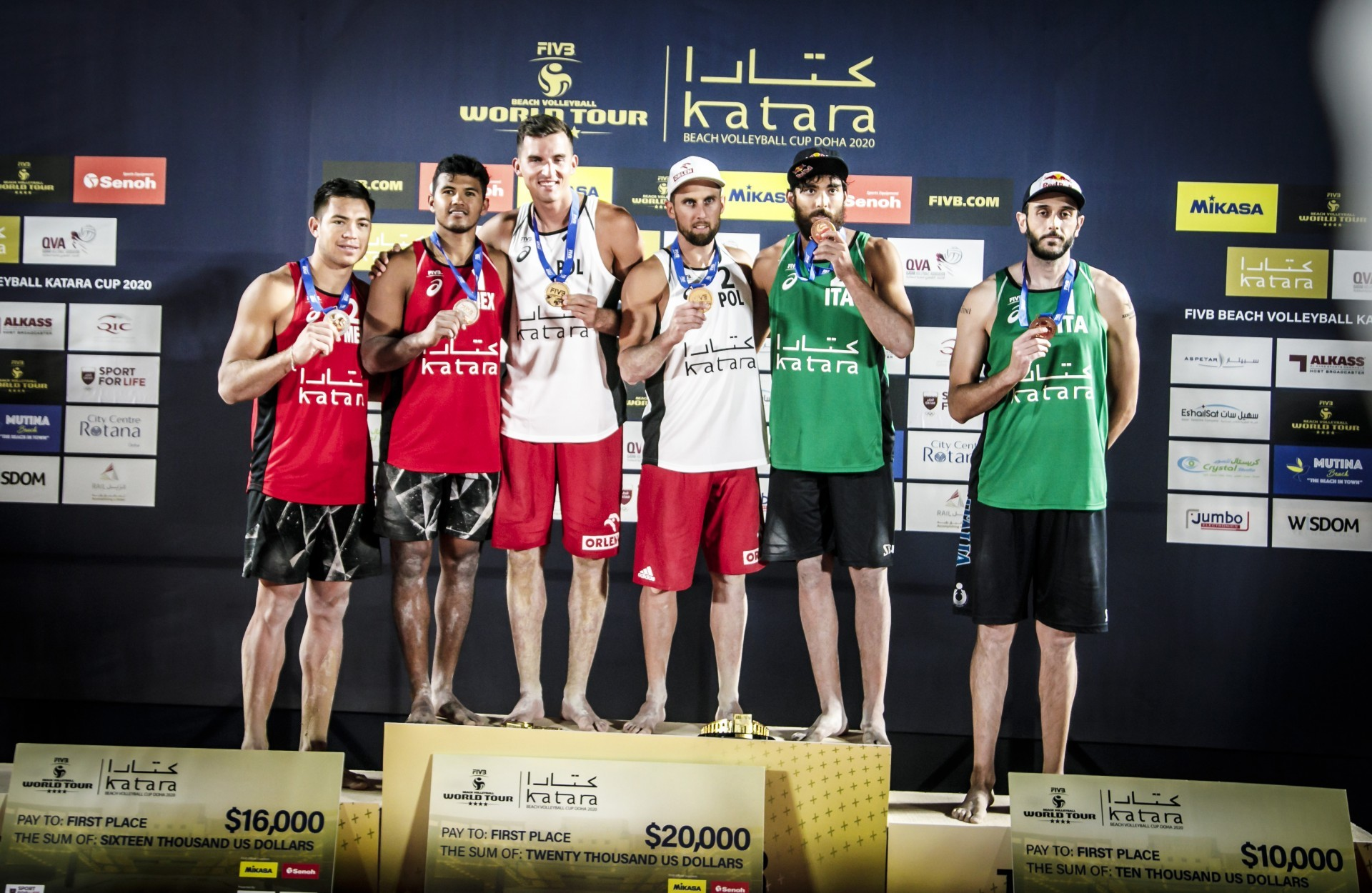 Mexicans, Polish and Italians stand at the podium in Doha