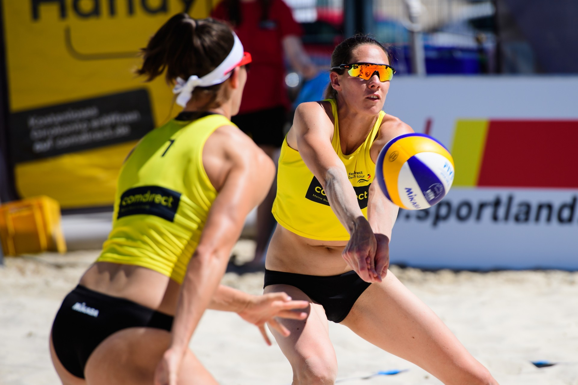 Kira in action during her beach volleyball return this weekend in Düsseldorf