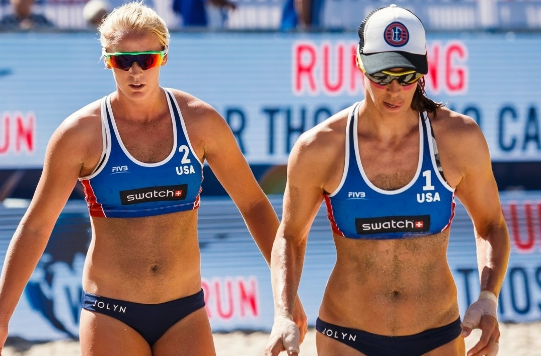 Sara Hughes (left) and Lauren Fendrick in action together in Fort Lauderdale in 2017 - but they were on opposite sides of the court today