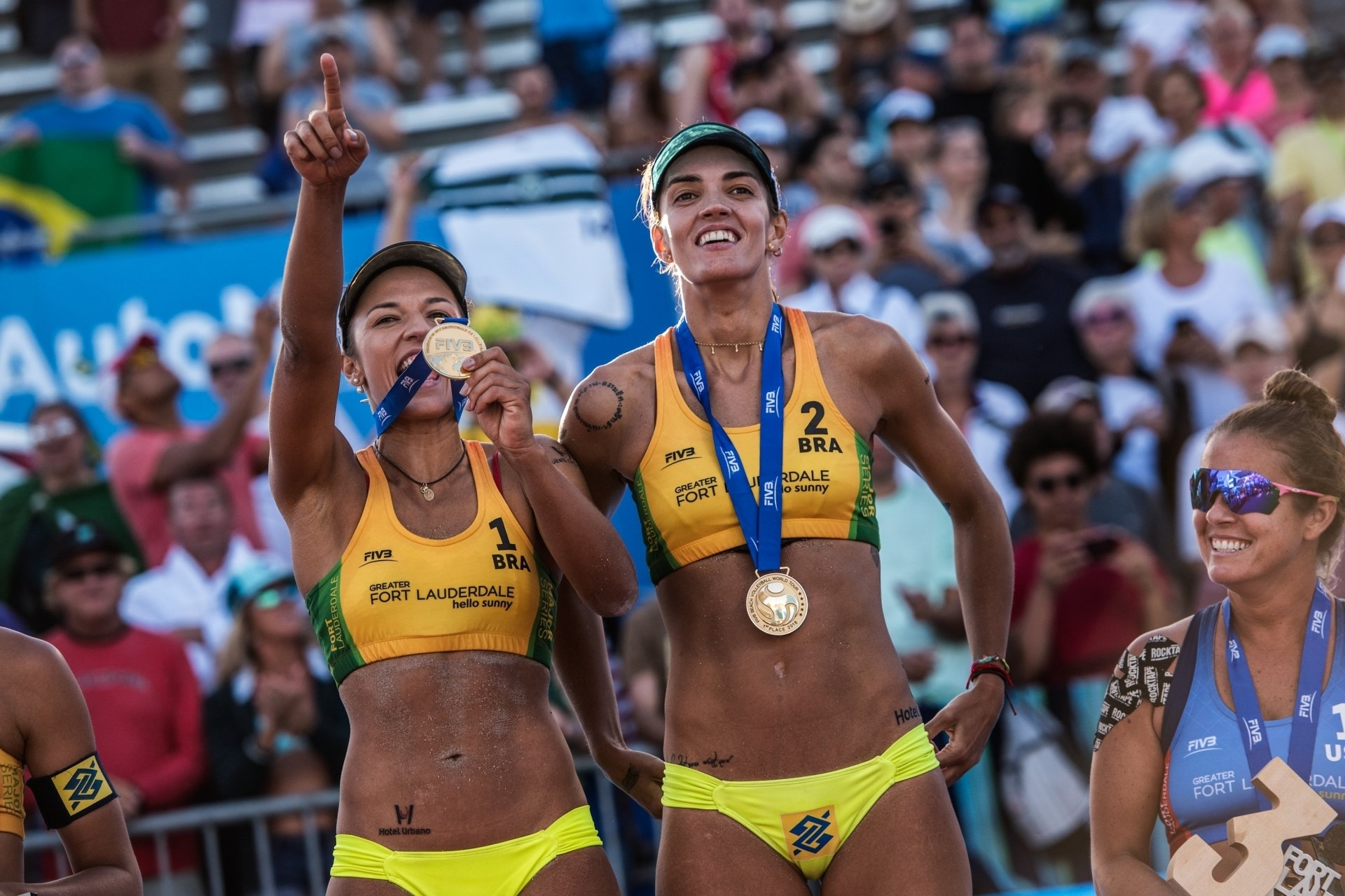 Barbara and Fernanda, FTL Major champs in March, won gold in Huntington Beach