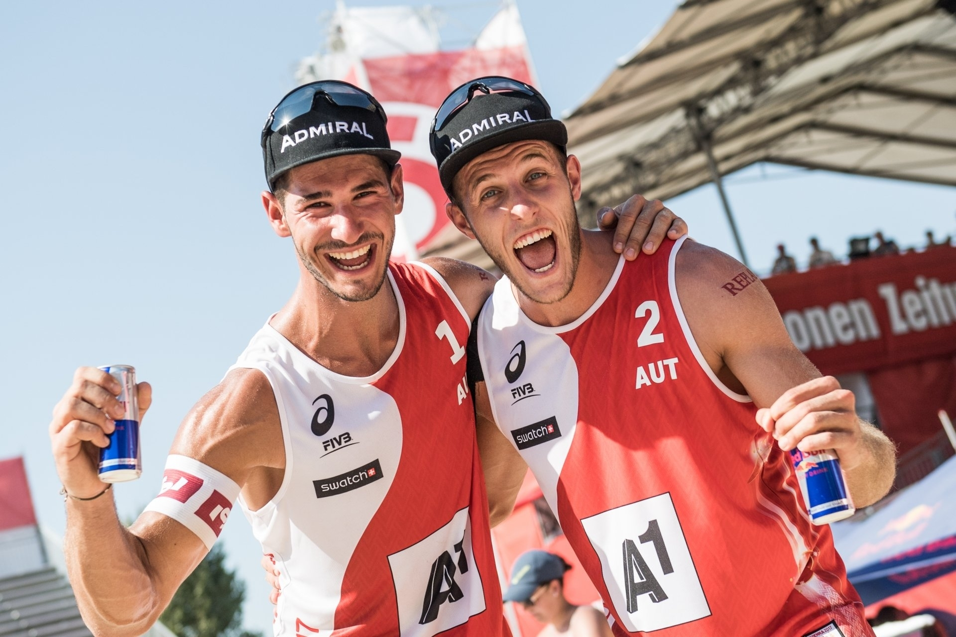 Martin (left) and Moritz all smiles during last year's World Championships in Vienna