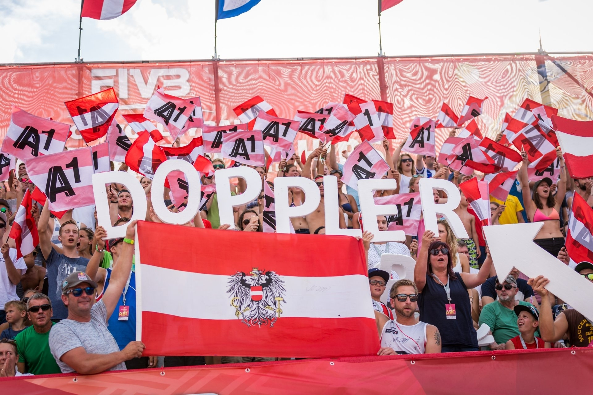 Clemens Doppler's name spelt out by the crowd at last year's World Championships
