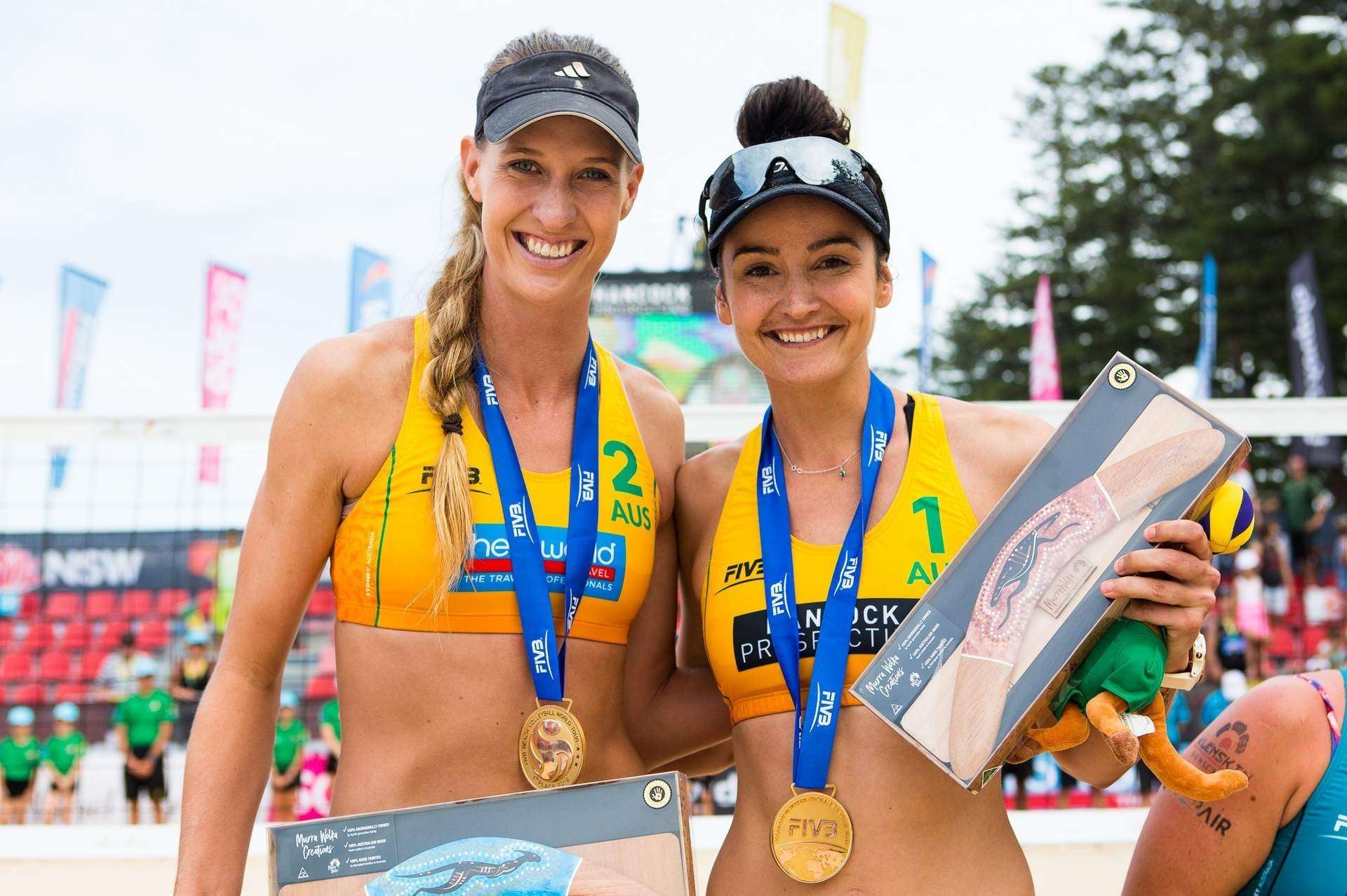Nicole Laird (left) and Becchara Palmer celebrate their win on home sand (Photo: FIVB)