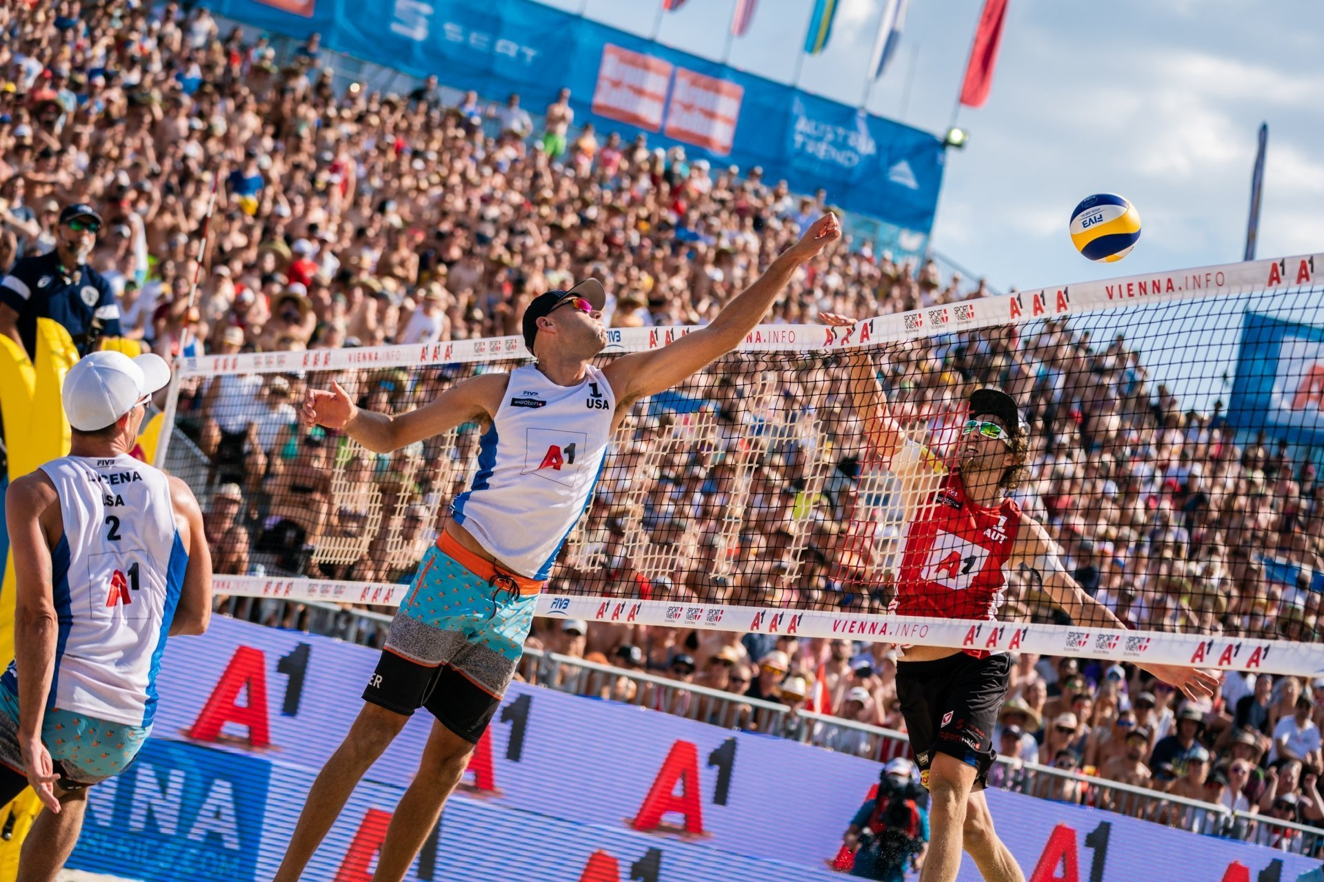 Nick Lucena (left) and Phil Dalhausser (both in white) in action in Vienna last year - their last World Tour appearance
