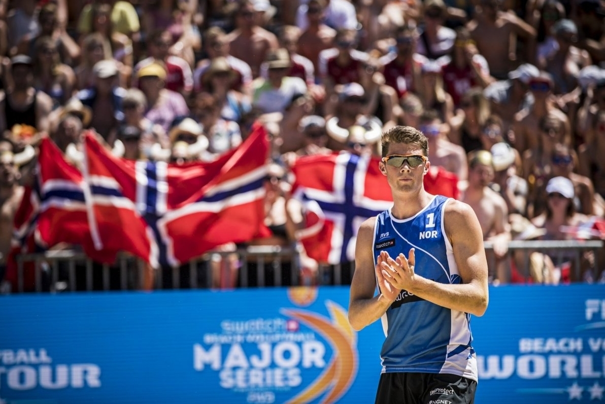 Anders pictured at the Poreč Major in June where he finished ninth - losing in three sets to Austrians Doppler/Horst