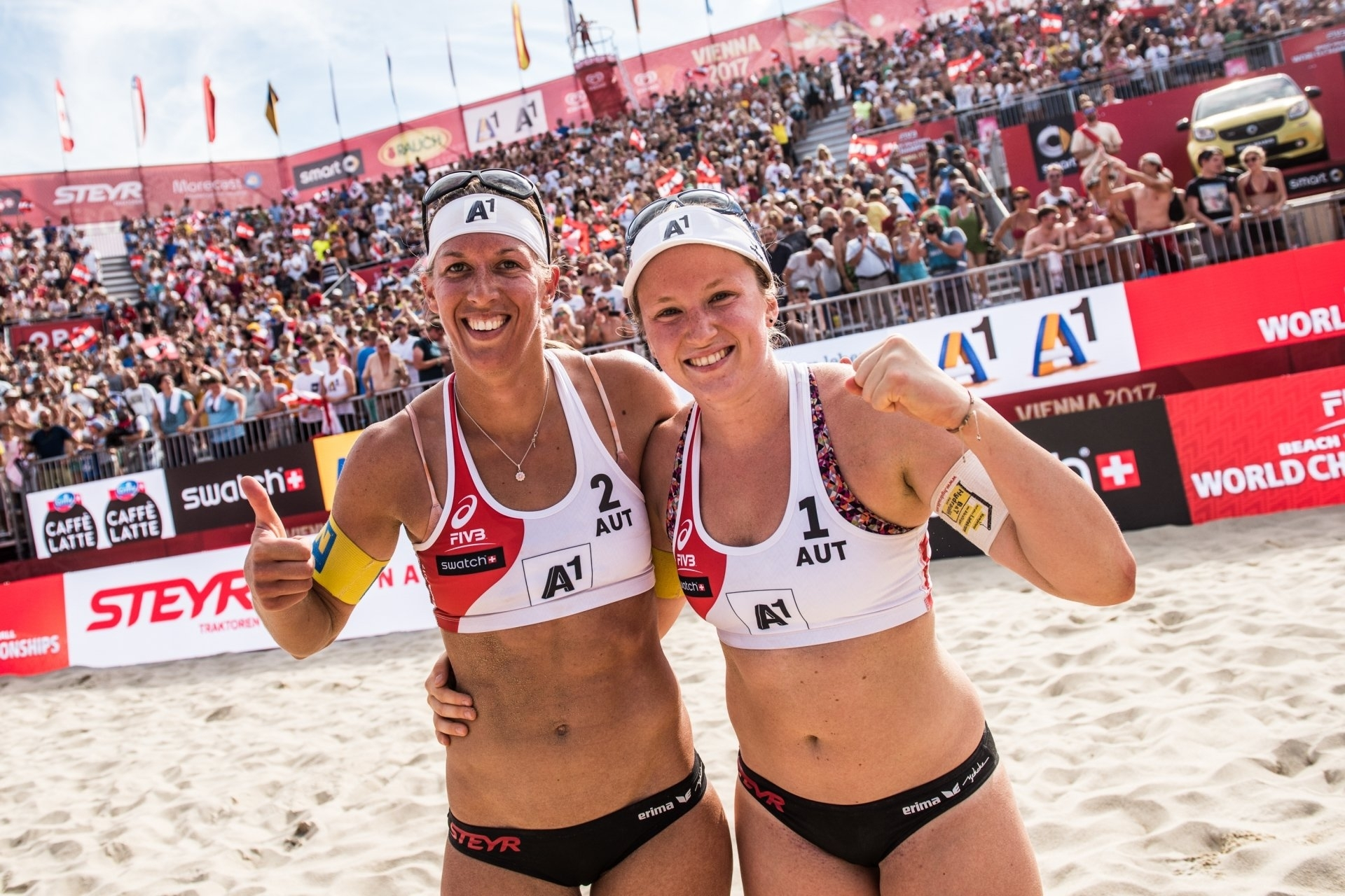 Steffi Schwaiger (left) played her final tournament at the World Championships in Vienna with Katharina Schützenhöfer