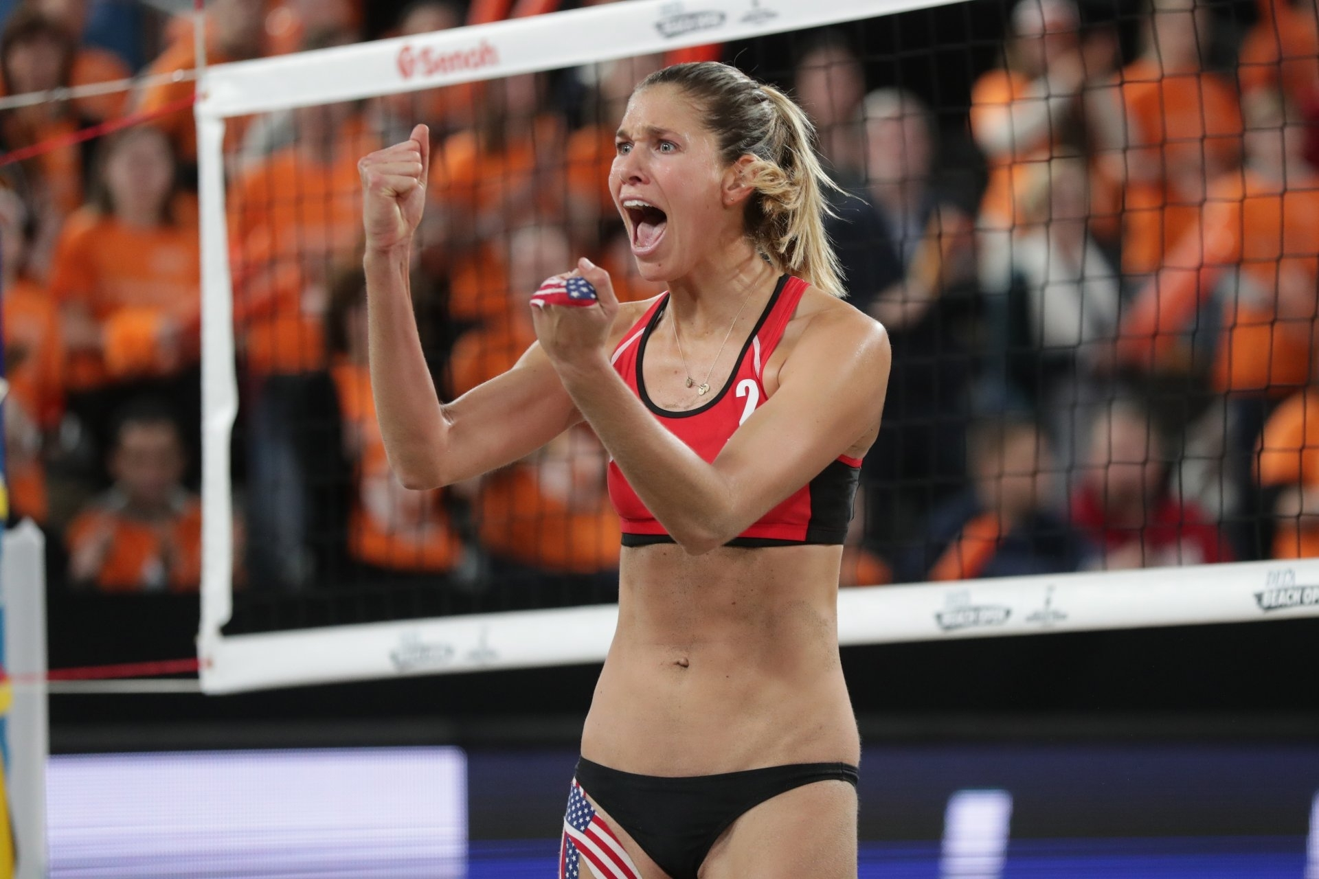 Alix celebrates during last week's final in The Hague. Photocredit: FIVB.