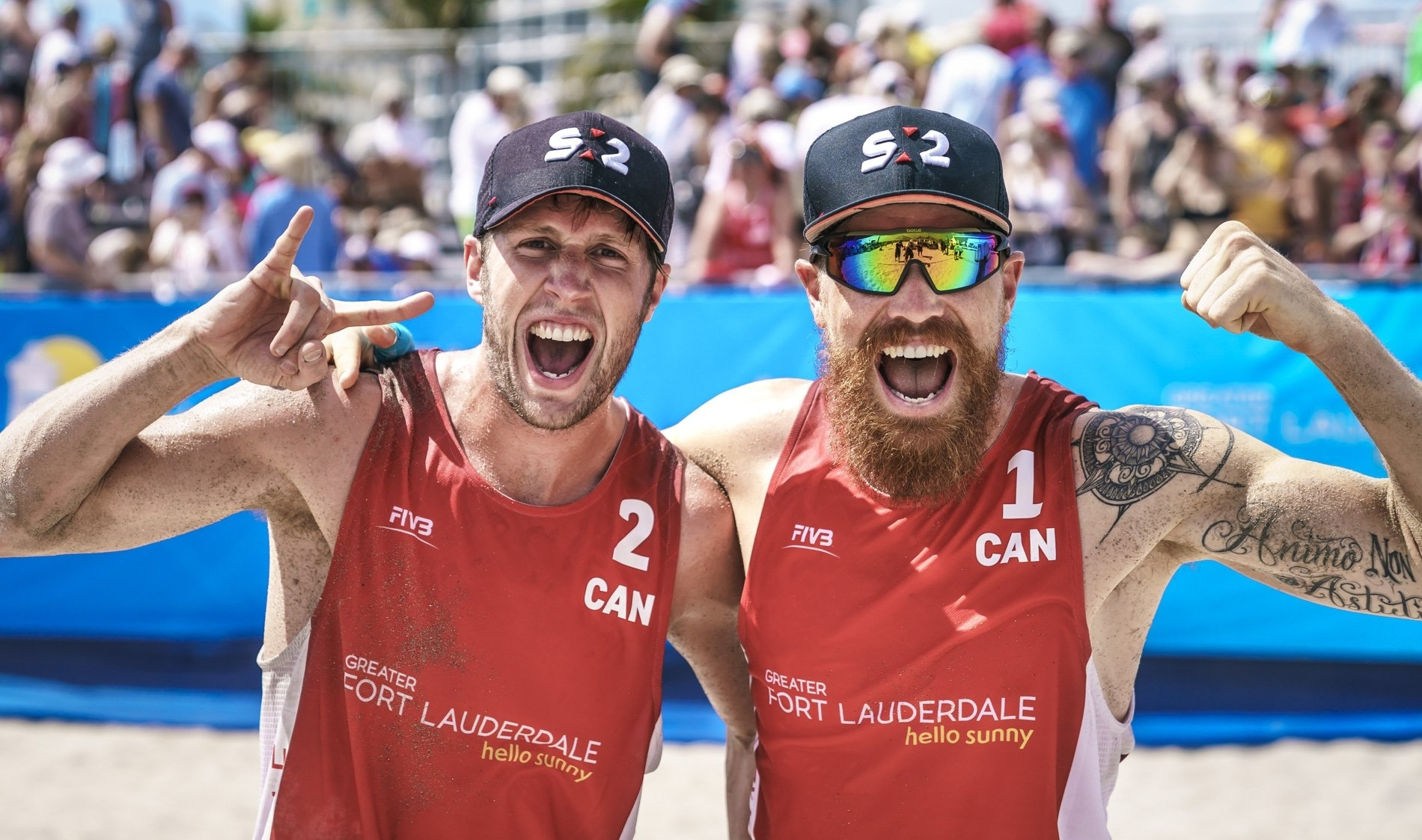 Sams Schachter (left) and Pedlow were made to work hard for their opening victory at the Commonwealth Games