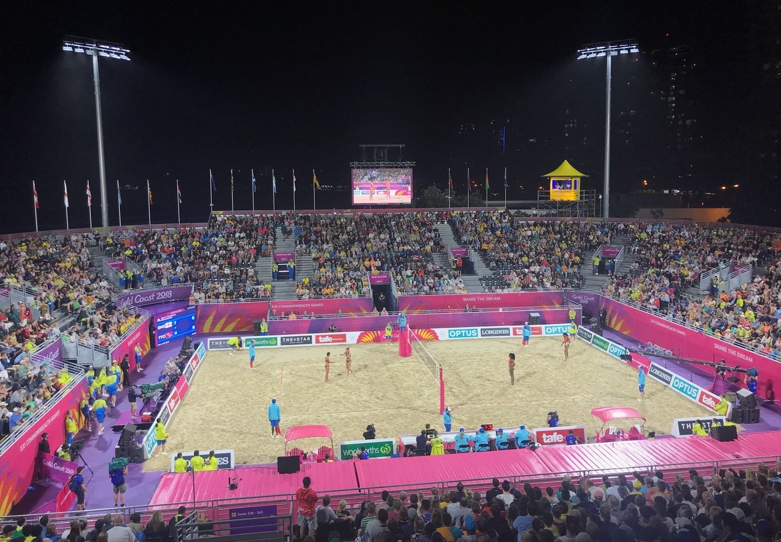 The scene is set for beach volleyball history at the Gold Coast