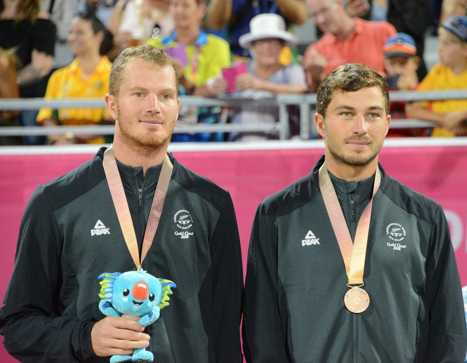 Ben and Sam all smiles with their bronze medals at the Gold Coast. Photocredit: Beach Major Series