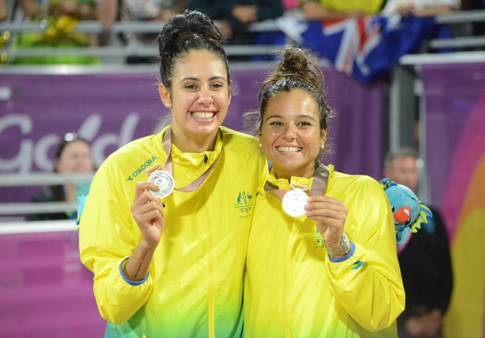 Taliqua Clancy (left) and Mariafe Artacho Del Solar added another medal to their growing collection. Photocredit: Beach Major Series