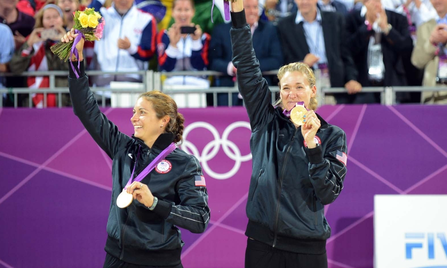 Misty (left) and Kerri celebrate their third successive Olympic gold in London in 2012. Photocredit: FIVB