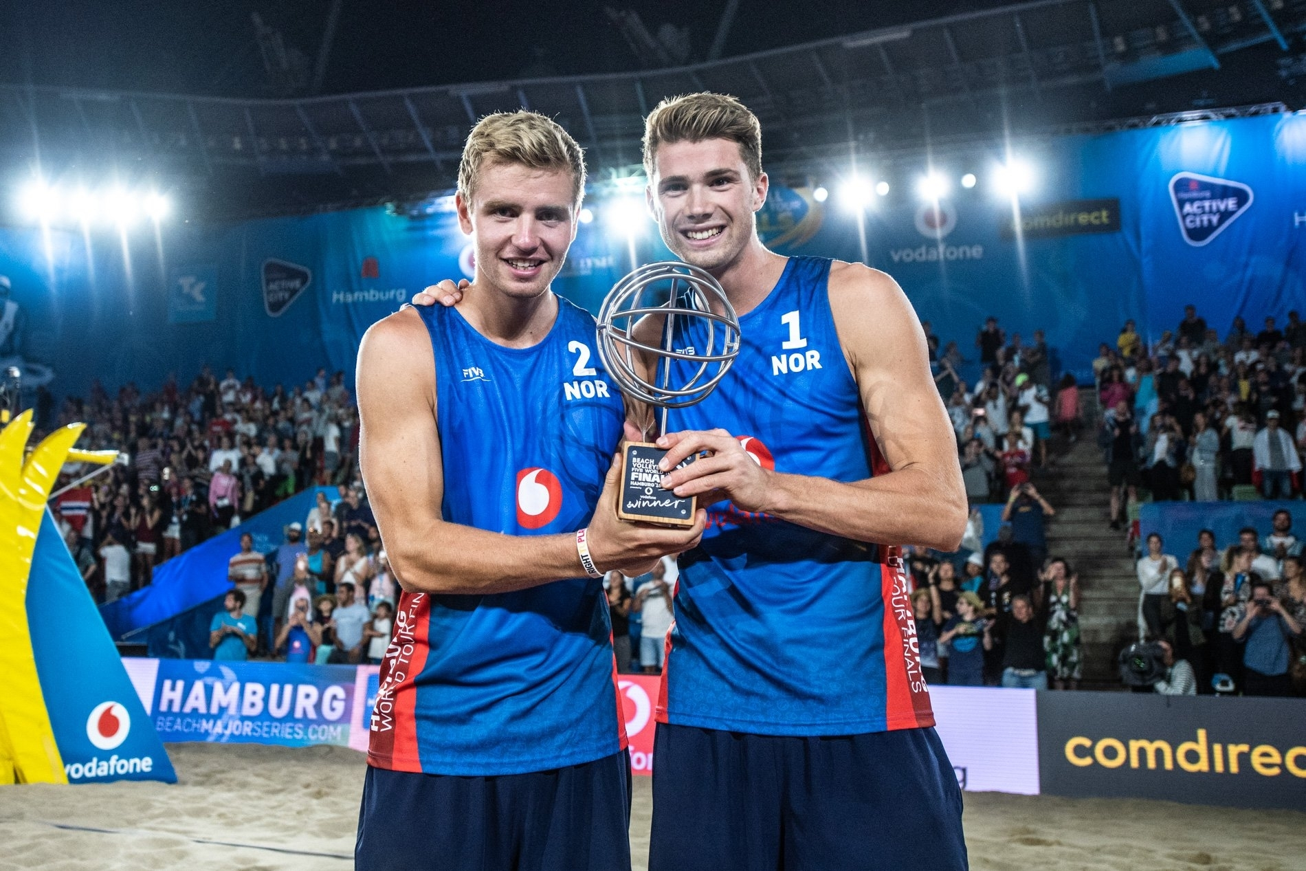 Anders Mol (right) and Christian Sørum won five end-of-season awards from the FIVB.