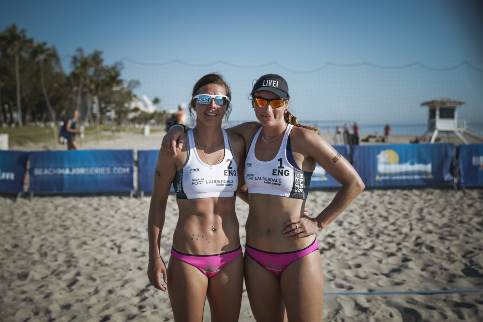 Jessica (left) and Victoria are on a mission to win a medal and get England to love beach volleyball