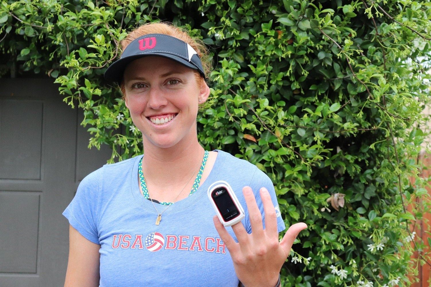 USA's Kelly Claes uses a device to keep track of several body rates before, during and after physical activities (Photocredit: Kelly Claes)