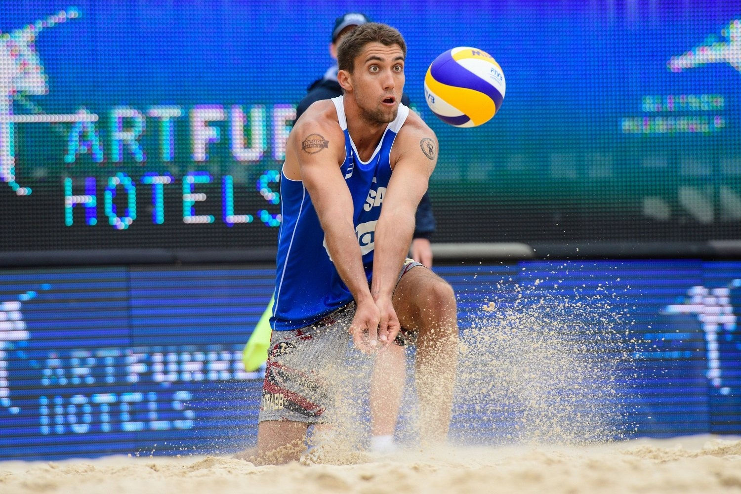 Playing with his third different partner in 2018, Trevor Crabb won his first-ever World Tour medal in Lucerne (Photocredit: FIVB)