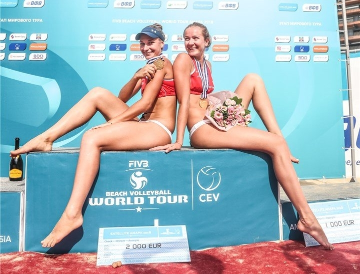 Kholomina and Makroguzova in the top of the podium in Anapa (Photocredit: FIVB)